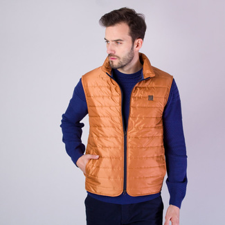 Men's quilted vest in copper color with shiny surface 11868, Willsoor