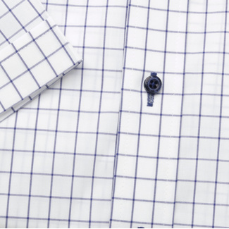 Men's Slim Fit shirt with dark blue check pattern 11869, Willsoor