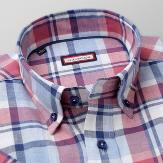 Men's Slim Fit shirt with red check pattern 11874, Willsoor