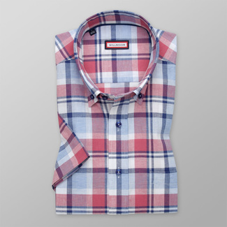 Men's classic shirt with red check pattern 11876, Willsoor