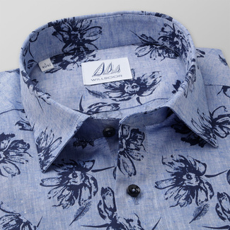 Men's Slim Fit shirt with dark blue flowers print 11882, Willsoor