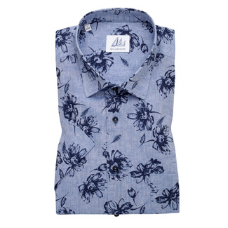 Men's classic shirt with dark blue flowers print 11883, Willsoor