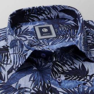 Men's Slim Fit shirt with dark blue floral print 11884, Willsoor