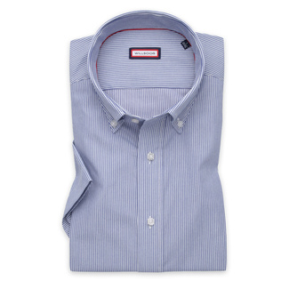 Men's Slim Fit shirt with fine dark blue pattern 11889, Willsoor