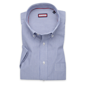 Men's classic shirt with fine dark blue pattern 11890, Willsoor