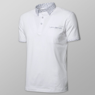 Men's polo shirt in white color with floral elements 11892, Willsoor