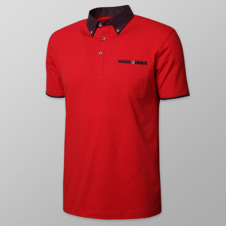 Men's polo shirt in red color with dark blue polka dot elements 11896, Willsoor