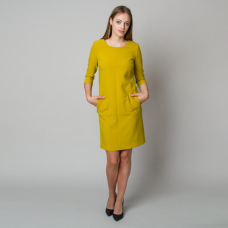 Midi dress in mustard color 11906