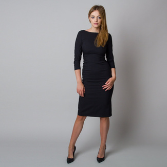 Midi dress black color with smooth pattern 11923, Willsoor
