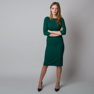Midi dress in dark green color 11924, Willsoor