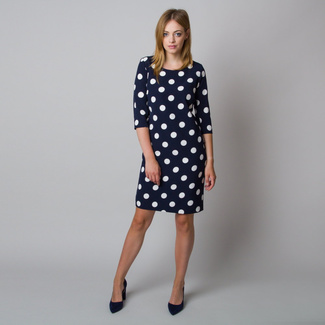 Midi dress with white polka dot pattern 11926, Willsoor