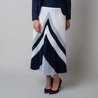 Pleated midi skirt with grey and black pattern 11928, Willsoor