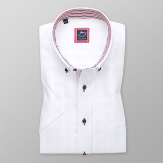 Men's classic shirt in white color with contrast elements 11932, Willsoor