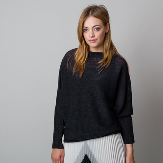 Women's sweater in oversize cut, black 12052, Willsoor
