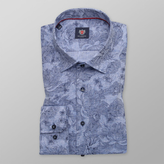 Men's Slim Fit shirt of a light blue color with a flower pattern 12059, Willsoor