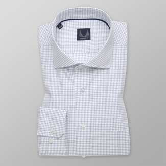 Men's classic shirt with dark blue checkered pattern 12071, Willsoor