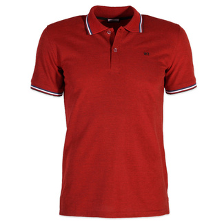 Men's polo t-shirt in a red color with lining 12073, Willsoor