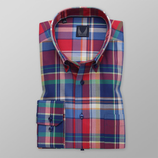 Men's classic shirt with color checkered pattern 12089, Willsoor