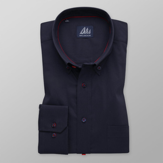 Men's shirt classic dark blue with delicate pattern 12094, Willsoor