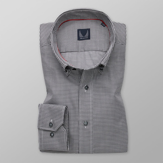 Men's Slim Fit shirt with fine black pattern 12101, Willsoor