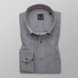 Men's classic shirt with delicate black pattern 12102, Willsoor