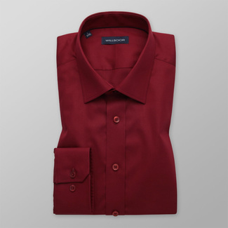 Men's Slim Fit dark red shirt with smooth pattern 12168, Willsoor