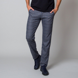 Men's pants in a grey color with a chequered pattern 12189, Willsoor
