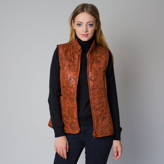 Women quilted vest in an orange color with a delicate pattern 12210, Willsoor