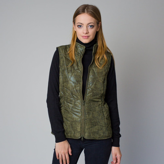 Women's quilted vest in a khaki color with a delicate pattern 12212, Willsoor