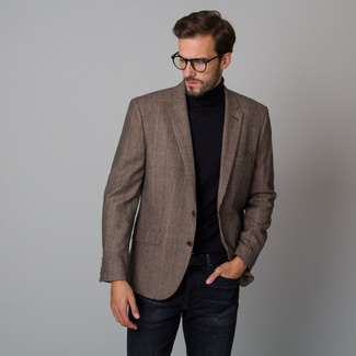 Men's jacket in brown with a checkered pattern 12222, Willsoor