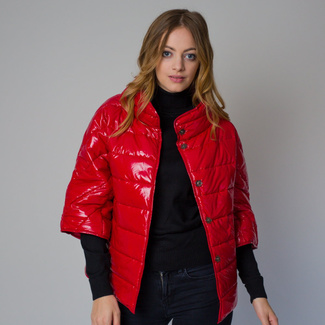 Women's quilted jacket in a red color 12226, Willsoor