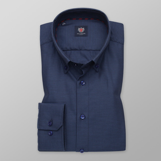 Men's Slim Fit shirt in a dark blue color with a delicate pattern 12266, Willsoor