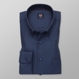 Men's classic shirt in a dark blue color with a delicate pattern 12267, Willsoor