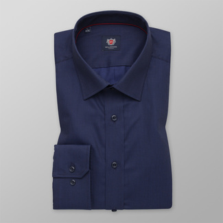 Men's Slim Fit shirt in a dark blue color with a delicate pattern 12269, Willsoor