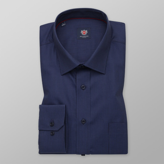 Men's classic shirt in a dark blue color with a delicate pattern 12270, Willsoor