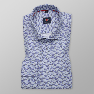 Men's Slim Fit shirt with a blue paisley pattern 12274, Willsoor
