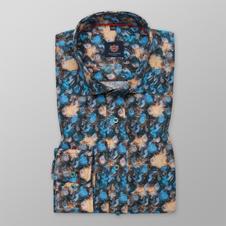 Men's Slim Fit shirt with color plant pattern 12280, Willsoor