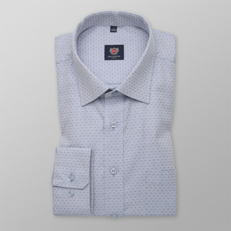 Men's Slim Fit grey shirt with dark blue dots 12282