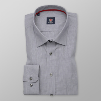 Men's classic shirt in light grey with fine pattern 12286, Willsoor