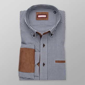 Men's Slim Fit shirt with blue-white pattern and elbow pads 12295, Willsoor