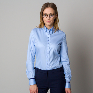 Women's light blue shirt with contrasting elements 12385
