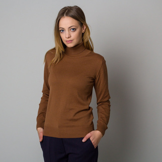 Women's brown sweater with turtleneck 12387, Willsoor