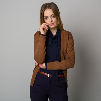 Women's short cardigan in brown color 12388, Willsoor