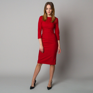 Midi dress in dark red color 12399, Willsoor