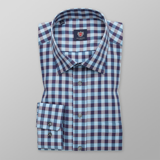 Men Slim Fit shirt  with blue-gray pattern 12401, Willsoor