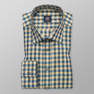 Men classic shirt with blue-yellow pattern 12404, Willsoor