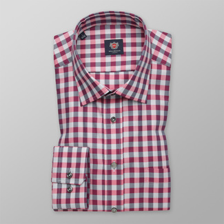 Men's Slim Fit shirt with pink-grey pattern 12405, Willsoor