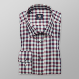 Men's classic shirt with a purple-grey pattern 12408, Willsoor