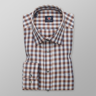 Men's Slim Fit shirt with a brown-grey pattern 12409, Willsoor