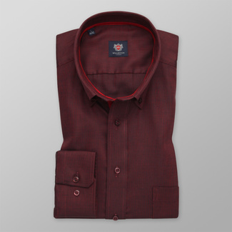 Men's classic shirt in claret with fine pattern 12418, Willsoor